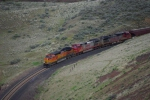 BNSF 4745 Leads an empty Grain trainThrough a cut near the Yakima River Dam